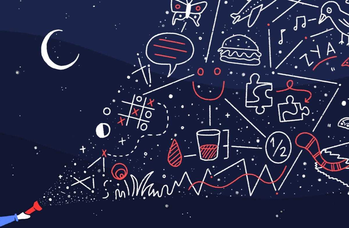 An illustration of a night sky populated with drawings meant to look like constellations. There is a hambuger, a smiley-face, a tic-tac-toe board, a puzzle piece, a butterfly and a crescent moon.