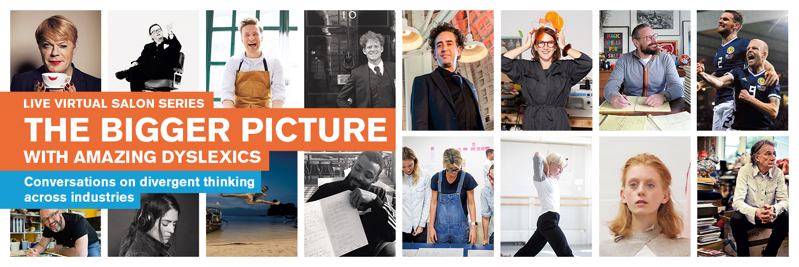 Sixteen portraits of Amazing Dyslexics taken from The Bigger Picture Book of Amazing Dyslexics and the Jobs They Do.