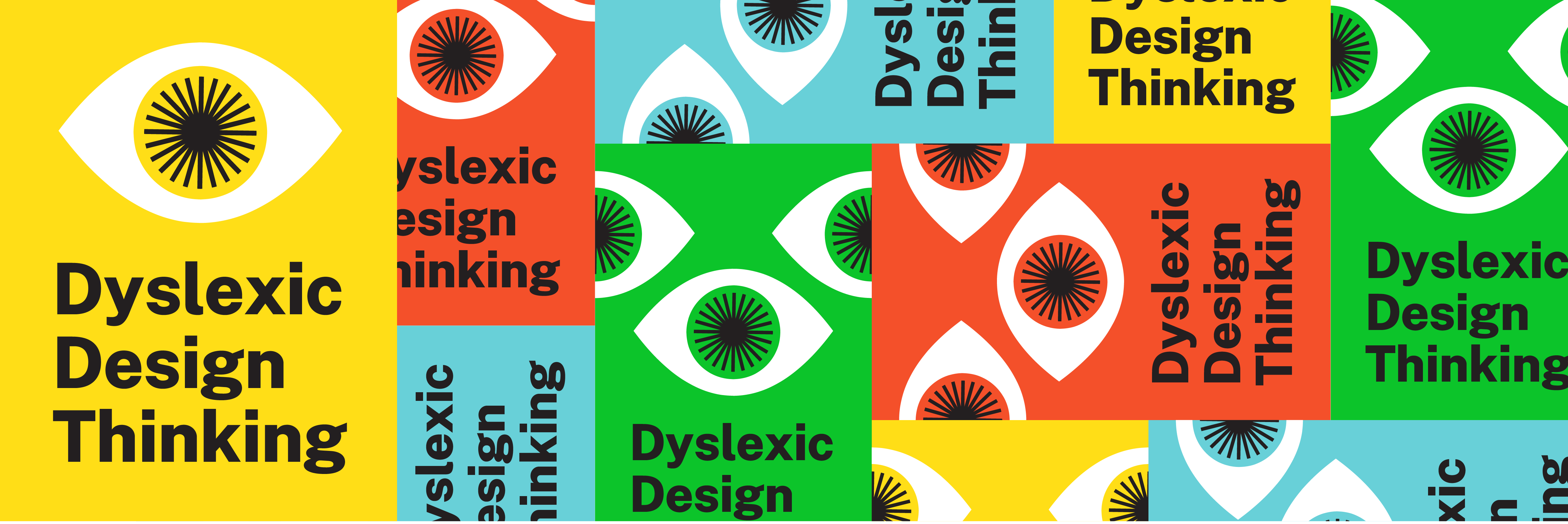 The banner for Dyslexic Design Thinking, made up of red, green, yellow and blue squares, each with a design of an open eye.