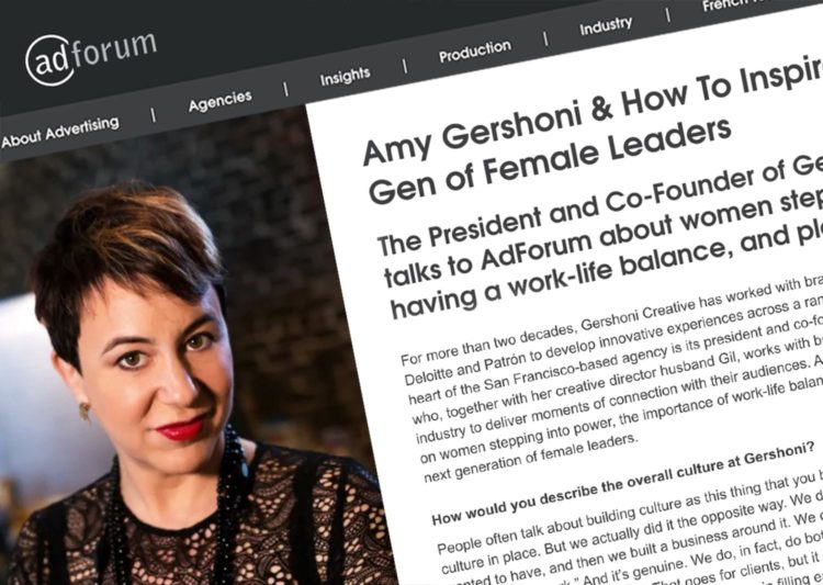 Screengrab from an AdForm interview with Amy Gershoni. She has short, dark hair and red lipstick.