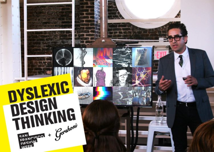 Gil Gershoni giving a lecture on Dyslexic Design Thinking. The DDT logo is in the lower left corner of the image.