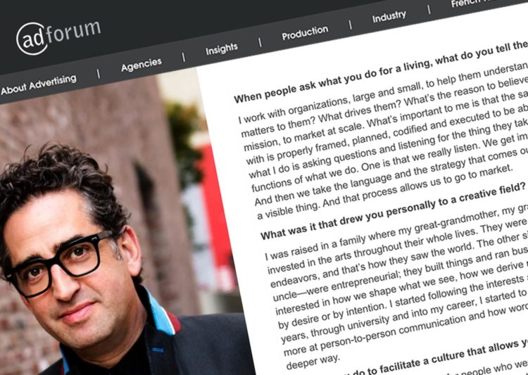 Screengrab from an AdForm interview with Gil Gershoni. He is wearing a dark suit and eyeglasses.