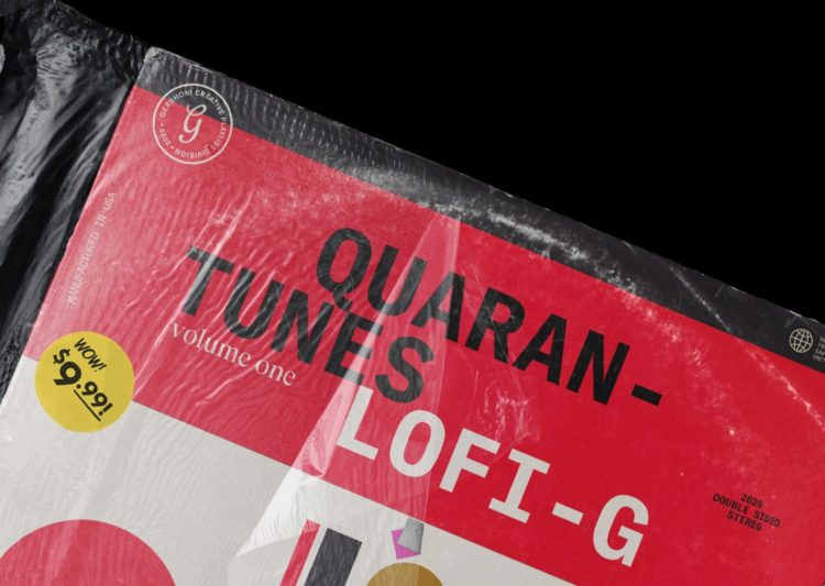 "Red and white vinyl sleeve sheathed in plastic, reading, ""Quarantunes, vol. 1: Lo-fi G."""