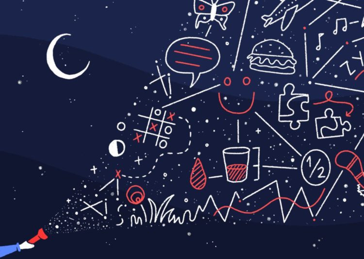 An illustration of a night sky with drawings meant to look like constellations, including a hamburger and a smiley-face.