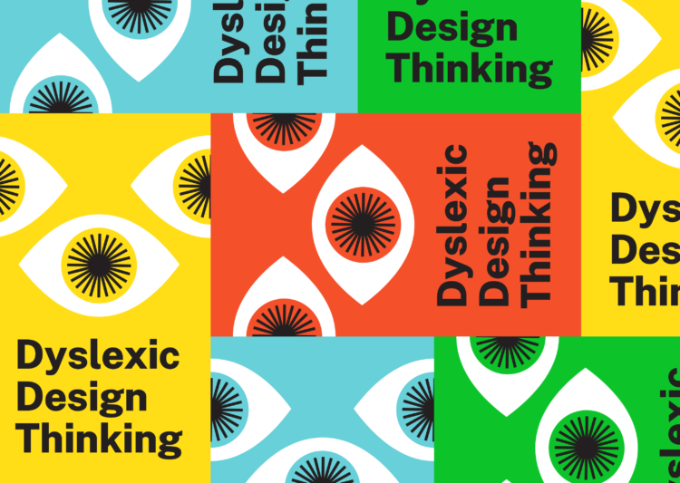 Banner for Dyslexic Design Thinking, made up of red, green, yellow and blue squares, each with a design of an open eye.