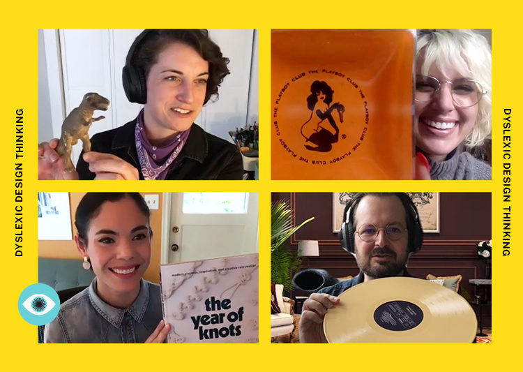 Screenshot of 4 Gershoni team members holding random objects to the camera as part of the Creative Intervention series.