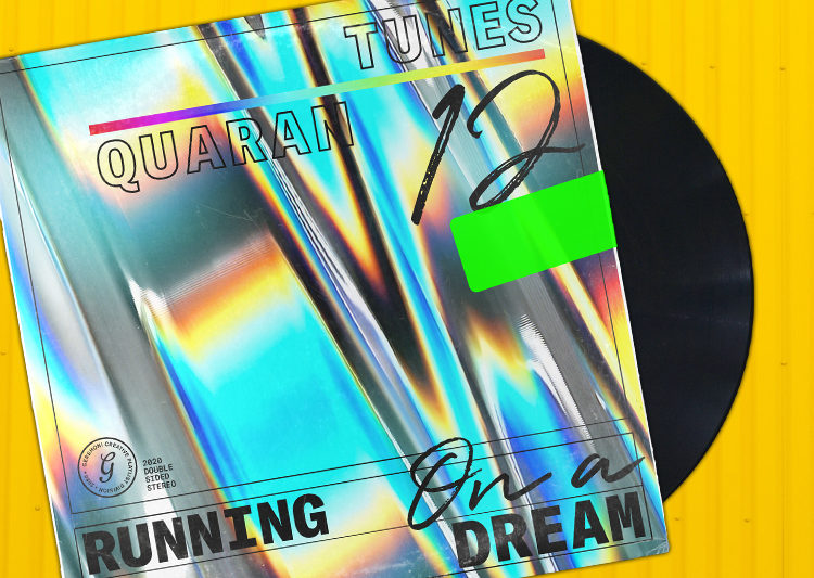 "Vinyl sleeve made out of an iridescent silver material, with the words ""Running on a Dream"" sprawled across the bottom."