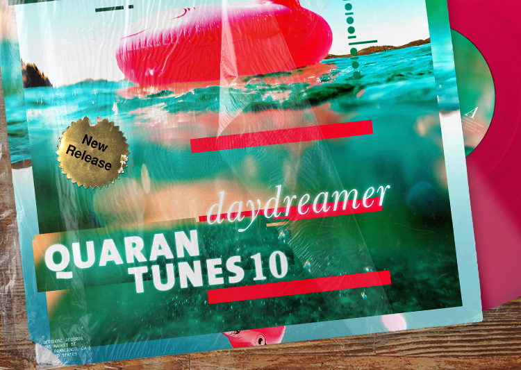 "Vinyl sleeve with a pool and an inflatable flamingo on its cover, with the words ""Daydreamer"" in white text."