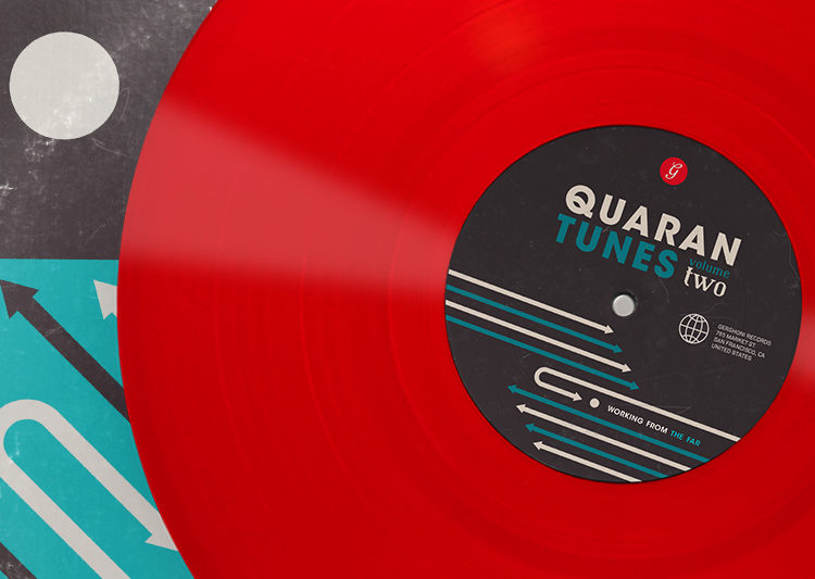 "A bright red vinyl record next to a blue and black cover. The text on the center of the vinyl reads, ""Quarantunes, vol. 2."""