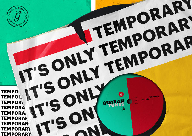 "A ripped vinyl sleeve with the words, ""It's Only Temporary"" repeated across the front."