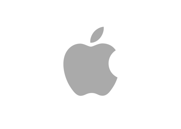 Apple logo. It is a grey apple on a white background.