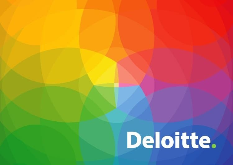 Logo for Deloitte Business Chemistry resembling a rainbow kaleidescope.