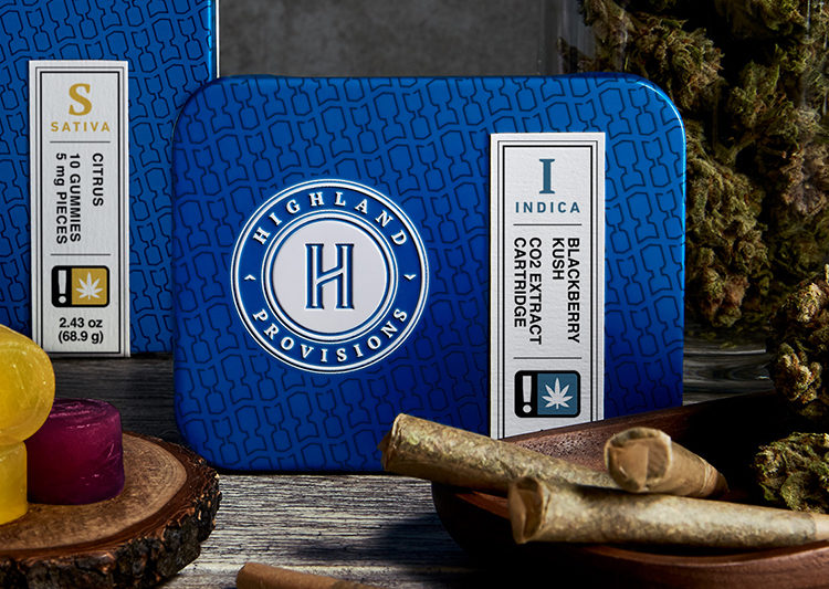 Highland Provisions cannabis products, including an Indica cartridge, gummies and prerolls.