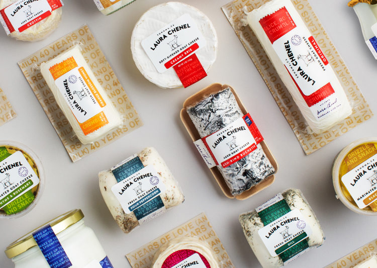 A variety of Laura Chenel goat cheese SKUs, including creamy brie and four peppercorn.