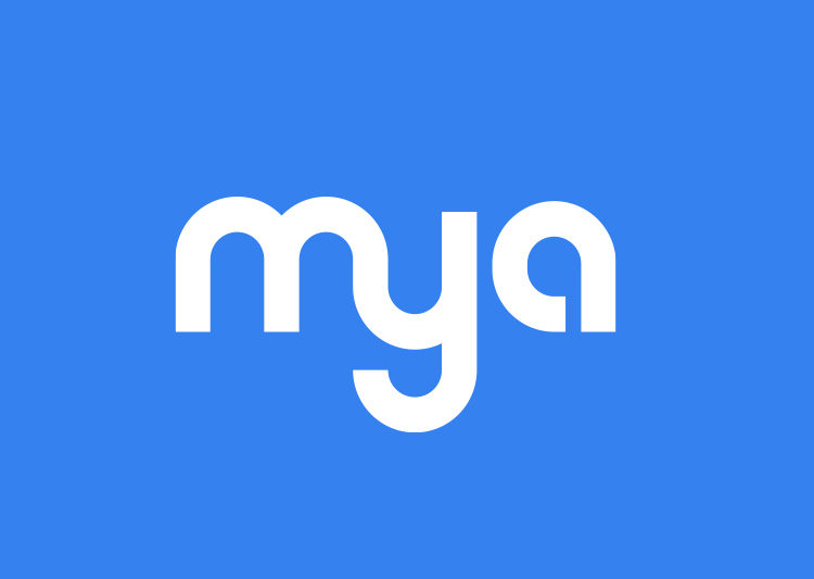 Mya logo. It is white text on a cornflower blue background.