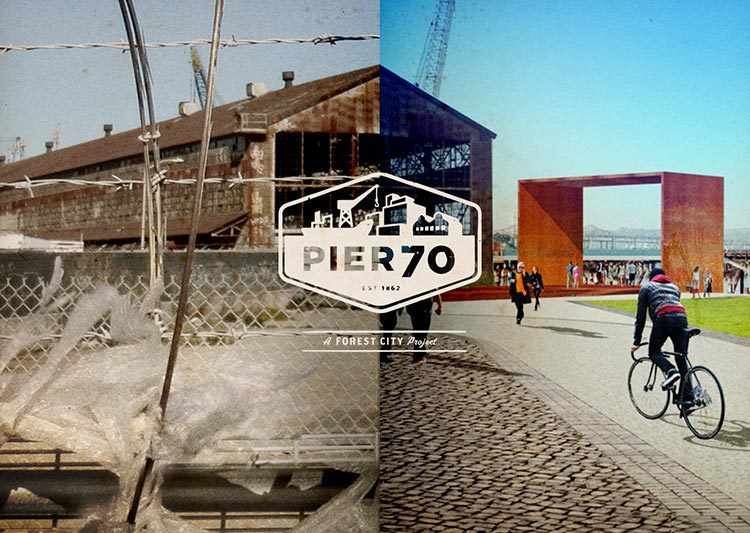 Diptych of two photographs of Pier 70. On the left, the building is old and dilapidated; on the right, it's been revitalized.