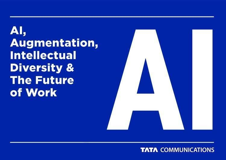 "Blue thumbnail with white text that reads ""AI, Augmentation, Intellectual Diversity & the Future of Work."""