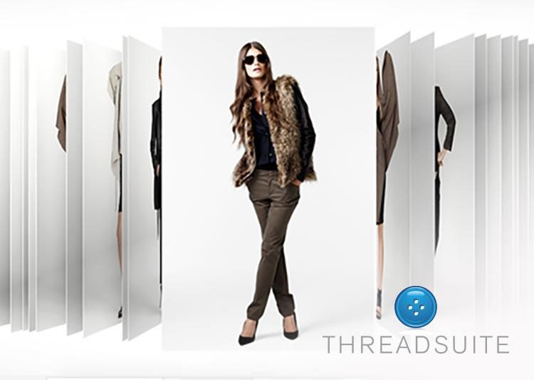 A woman poses wearing brown jeans and a fur vest. The Threadsuite logo is in the lower right corner.