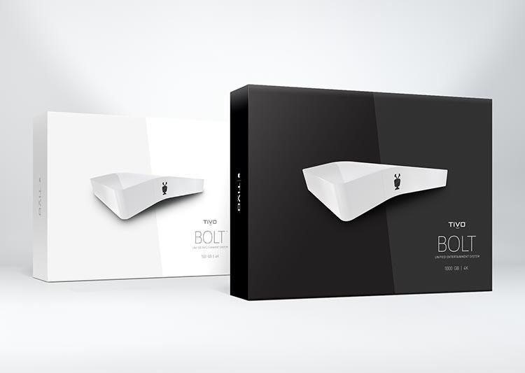 TiVo Bolt packaging in black and white.