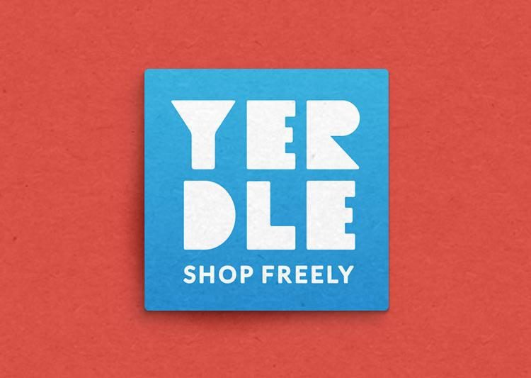 Yerdle logo. It is a blue square on a reddish background.