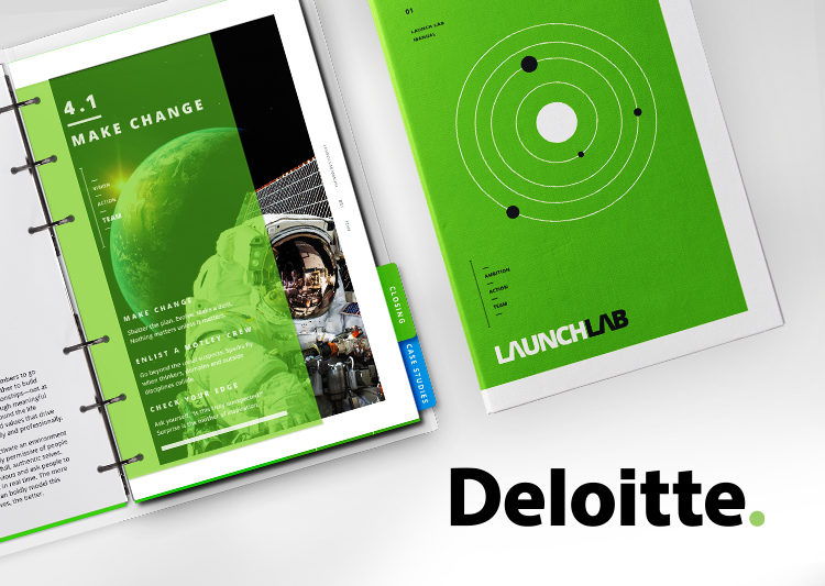 The Deloitte Launch Lab booklet. White and green binder with an image of an astronaut.