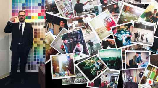 Diptych of a white man in a suit and a pile of Polaroid photos.