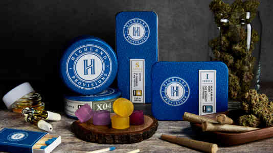 A collection of Highland Provisions cannabis products, including prerolls, cartridges and gummies.