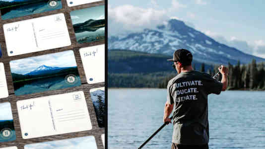 Diptych of postcards showing the Cascade Mountains and a man paddle-boarding, wearing a Highland Provisions T-shirt.