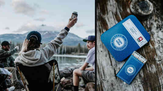 Diptych of a group of young people sitting around a campfire, wearing Highland Provisions merch, and Highland prerolls.