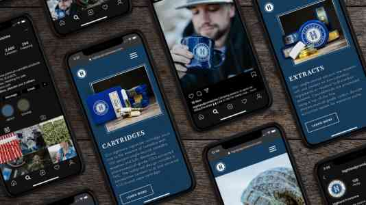 Seven cellphones showcasing Highland's digital presence, from its website to its Instagram account.