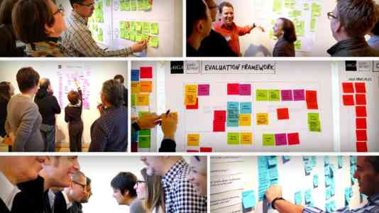 Collage of a group of white businesspeople talking and writing on Post-It notes pasted to a whiteboard.