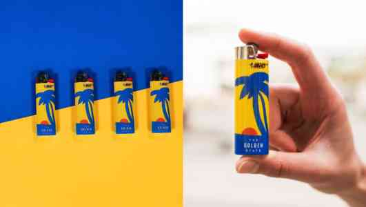 Diptych of blue and yellow Bic lighters staged on a blue and yellow background, and a hand holding the same lighter.