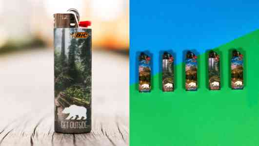 Diptych of a Bic lighter staged on a wood table and five lighters arranged on a green and blue background.