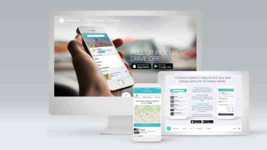 Mock-up of a computer, a tablet and a cellphone opened to Curbside's website and app.
