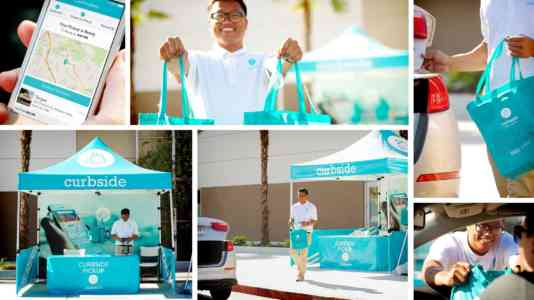 Collage of photos from the curbside pick-up booth. The booth is light blue with white lettering.