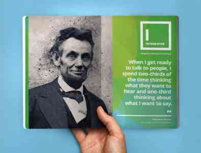 Page of the field guide opened to a page explaining the Integrator style, with a photo of Abraham Lincoln and a quote.