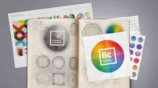 Sketches for the Deloitte Business Chemistry logo.
