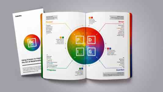 Business Chemistry field guide opened to a chart explaining the four work styles.