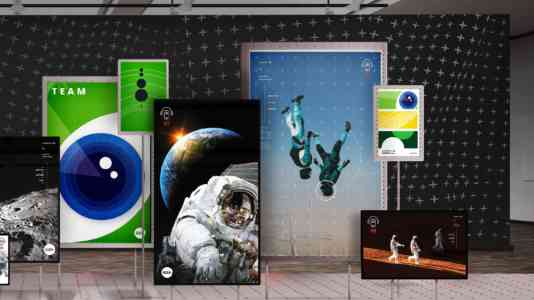 Installation of 7 photographs of astronauts and space exploration displayed on large flat-screens.