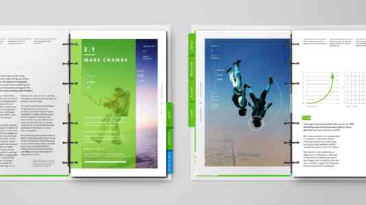 "Two pages from the Launch Lab curricula. On the left is a photo of an astronaut with the the title, ""Make changes."" On the right is a photo of skydivers."