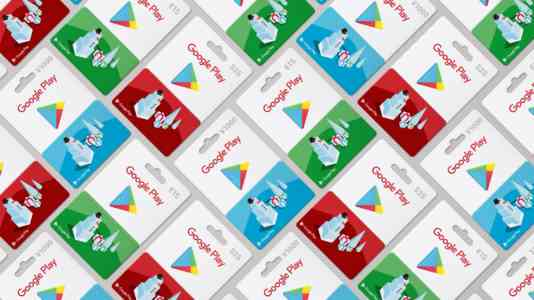 Tesselated grid of Google Play gift cards. They are red, blue and green.