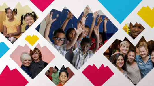 Collage of children and adults posing and smiling. Each photo is cut into the shape of a geometric heart.