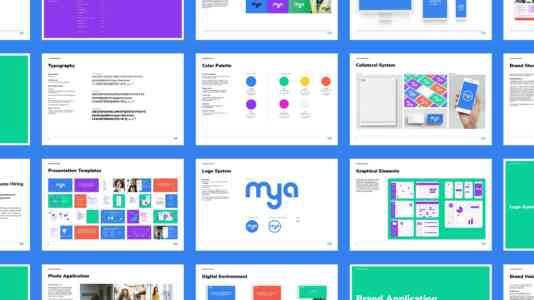 Mya's brand guidelines, including logo system, color palette and collateral system.