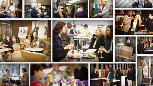 Collage of various groups of people inside a Nespresso café.