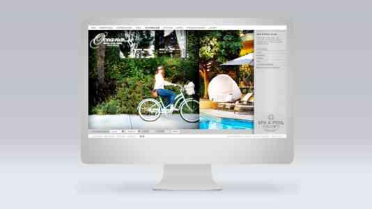 Mock-up of a desktop computer opened to the Oceana Beach Club Hotel website.