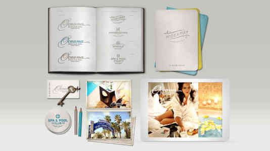Overview of various branded Oceana assets, including a room key and coasters.