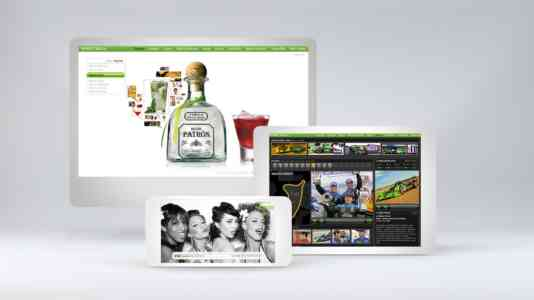 Mock-up of a computer, tablet and cellphone opened to the Patrón website.