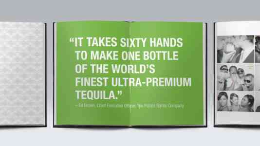 """Booklet opened to a page that reads, """"It takes 60 hands to make 1 bottle of the world's finest ultra-premium tequila."""""""