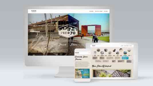 Mock-up of a computer, tablet and cellphone opened to a website about the restoration of Pier 70.