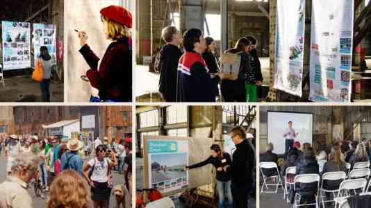 Collage of photos of a group of people assembled at Pier 70 for a presentation about its restoration.